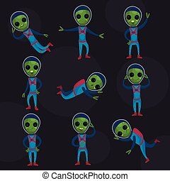 Funny green aliens with big eyes wearing blue space suits set, alien positive characters in different poses cartoon vector Illustrations