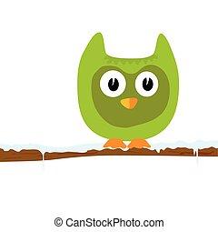 funny green animal on a branch vector illustration