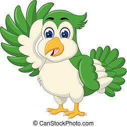 Funny Green Bird Cartoon