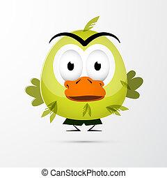 Funny Green Bird Illustration