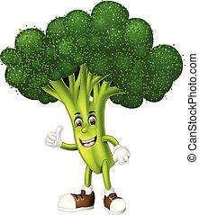 Funny Green Broccoli Cartoon