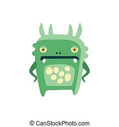 Funny green cartoon monster, fabulous incredible creature, cute alien vector Illustration