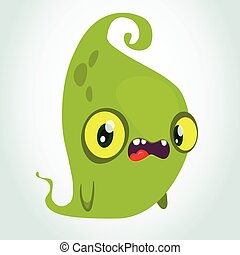 Funny green cartoon monster. Halloween vector illustration