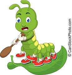 Funny Green Caterpillar Cartoon