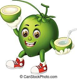 Funny Green Coconut Cartoon