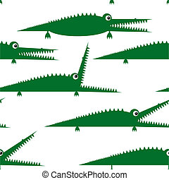Funny green crocodile, seamless pattern for your design