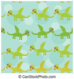 Funny green dragon with wings on blue background seamless pattern. vector