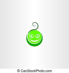 funny green face vector logo icon element