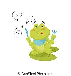 Funny green frog sitting on lotus leaf with knife and fork in its paws, ready to eat flies. Flat vector icon