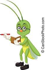 Funny Green Grasshopper Cartoon