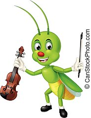 Funny Green Grasshopper Hold Brown Violin on Its Hand With Smiley Face Cartoon