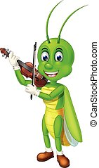 Funny Green Grasshopper Playing Brown Violin With Smiley Face Cartoon