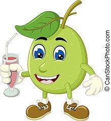 Funny Green Guava Cartoon