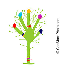 Funny green hand tree for your design