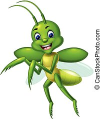 Funny Green Mantis Cartoon
