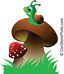 Funny green snail and two mushrooms on green grass. Vector...