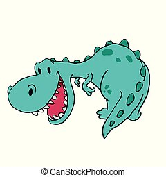 Funny green t-rex cartoon