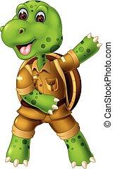Funny Green Turtle Cartoon