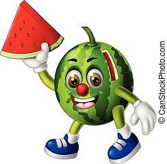 Funny Green Watermelon Cartoon