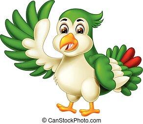 Funny Green White Bird Cartoon