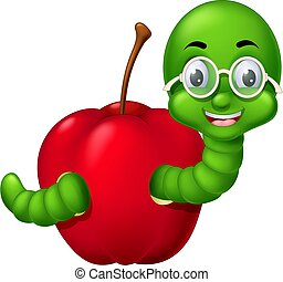 Funny Green Worm In Red Apple Cartoon