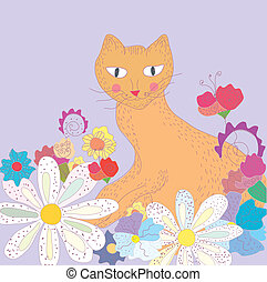 Funny greeting card with cat and flowers