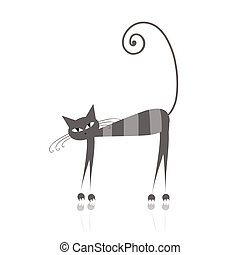 Funny grey striped cat for your design