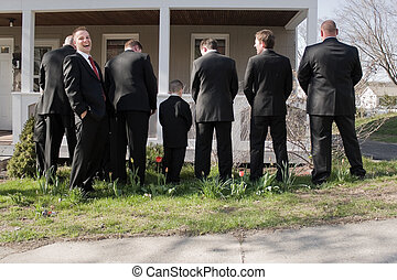 Funny Groomsmen - The groomsmen and other male members of a...