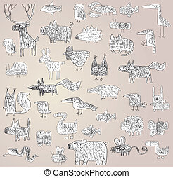 Funny Grunge Doodled Animals Collection in black and white