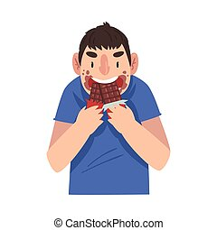 Funny Guy Eating Chocolate, Sweet Tooth Man Greedily ...
