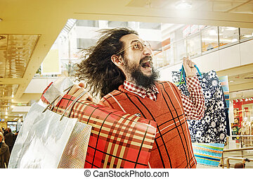 Funny guy on the shopping trip