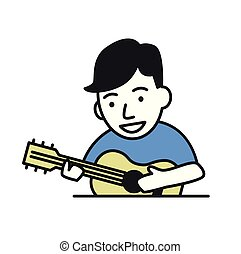 Funny guy playing guitar. Flat design icon. Flat vector illustration. Isolated on white background.