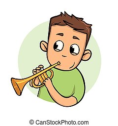 Funny guy playing trumpet. Flat design icon. Flat vector illustration. Isolated on white background.