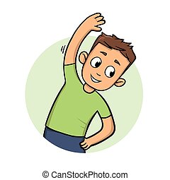 Funny guy streching and exercising. Active lifestyle. Cartoon design icon. Flat vector illustration. Isolated on white background.