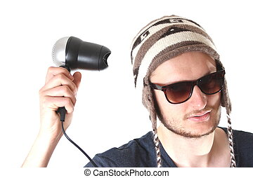 funny guy with hairdryer
