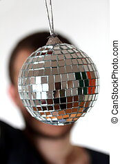 funny guy with little mirror ball