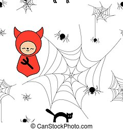 Funny halloween background with animals and devil.