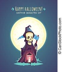 Funny Halloween Death with scythe. Vector character illustration