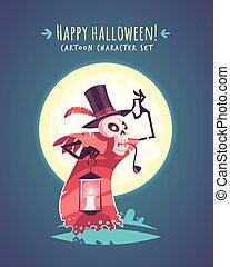 Funny Halloween hatter skull. Vector character illustration