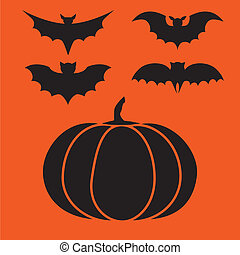 Funny halloween mystery vampire silhouettes. Dark spooky bats monsters isolated from orange background.