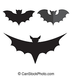 Funny halloween mystery vampire silhouettes. Dark spooky bats monsters isolated white background.