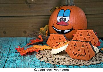 Halloween pumpkin with cookies