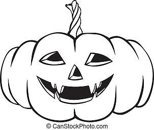 Contour image of a terrible fanged Halloween pumpkin
