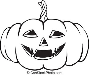 Funny Halloween Pumpkins - Contour image of a terrible...