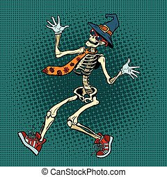 Funny Halloween skeleton in a fashionable tie and shoes