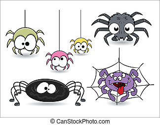 Funny Halloween Spiders Set - Drawing Art of set of cute...