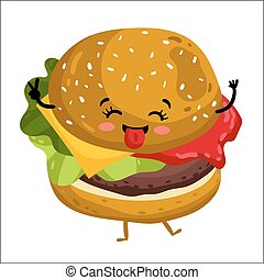 Funny hamburger isolated cartoon character