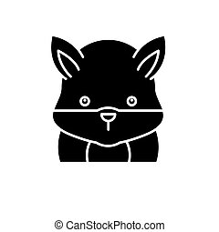 Funny hamster black icon, vector sign on isolated background. Funny hamster concept symbol, illustration