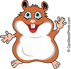Funny hamster in cartoon style isolated on white background