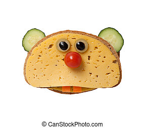 Funny hamster made of bread and cheese on white background